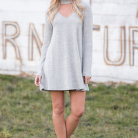 Meet My Standards Long Sleeve Choker Dress (Grey)