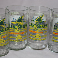 Drinking Glasses - Recycled Beer Bottle - Land Shark - 8 oz.