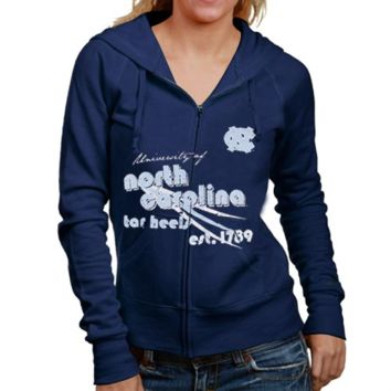 North Carolina Tar Heels :UNC: Ladies Navy Blue Distressed Full Zip Hoodie Sweatshirt