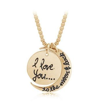 PEAPDQ7 I LOVE YOU TO THE MOON AND BACK ' Moon Pendant Lover's Necklace Great Gifts