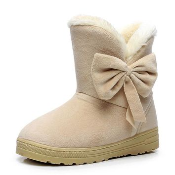 Women Boots For Winter fashion ankle boots solid snow boots female with fur warm boot woman shoes casual botas femininas