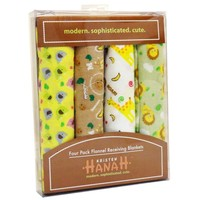 Kristen Hanah 4 Pack Assorted Flannel Receiving Blankets, Color # 1