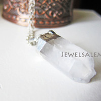 Clear Quartz Necklace Bohemian Long Layered Crystal Geode Raw Mineral Stone Pendant Gemstone Rock Natural Earthy Mineral Silver