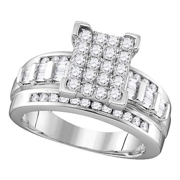 Sterling Silver Women's Round Diamond Rectangle Cluster Bridal Wedding Engagement Ring 1-2 Cttw - FREE Shipping (USA/CAN)