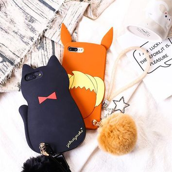 For iPhone X s Eevee Cat Kitten Fur Ball Pendant Strap Chain Soft Silicone Case For iPhone 8 6 6S 7 PlusKawaii Pokemon go  AT_89_9