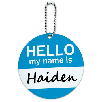 Haiden Hello My Name Is Round ID Card Luggage Tag