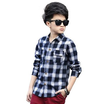 Plaid Shirts for Boys Spring Tops Autumn Children Clothing Teenager Outerwear Kids Blouse Infant Shirt Full Sleeve Clothes