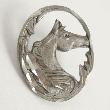 Pewter Horse Head Lapel Pin Tie Tac 1997 marked Equestrian Figural Jewelry