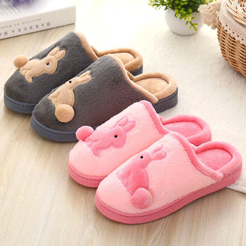 Cartoons Couple Cotton Lovely Winter Ladies Home Thick Crust Shoes Slippers [9067741828]