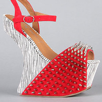 The Vicious Ex Shoe in Red White and Black Zebra