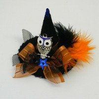 Halloween Witch Hat with Owl Hair Clip Black Felt Hat Embellished with feathers beads Halloween 3D Girls Women Hair Clip OOAK