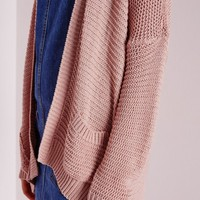 Missguided - Boyfriend Slouch Cardigan Pink