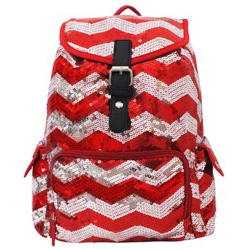 Spirit Sequin Chevron Bling Large Backpack RED