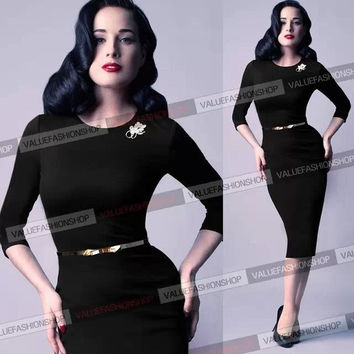 Womens Belted Elegant Vintage Pinup Long Sleeve Tunic Party Bodycon Pencil Sheath Wiggle Dress = 1958204548