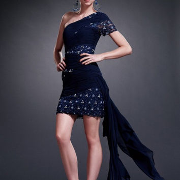 AB5202 Navy One Shoulder Sleeve Lace Chiffon Cocktail Homecoming MOB Dress