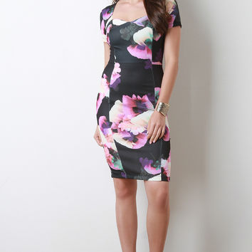 Floral Print Sweetheart Bodycon Midi Dress