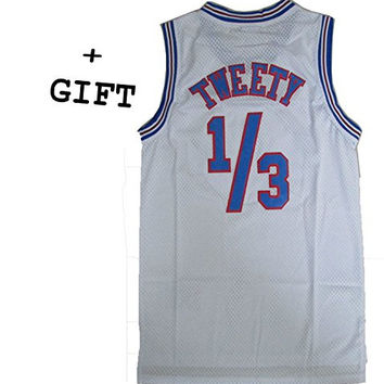 Tweety Bird 1/3 Space Jam Jersey Basketball Jersey Include Free Themed Wristbands Gift
