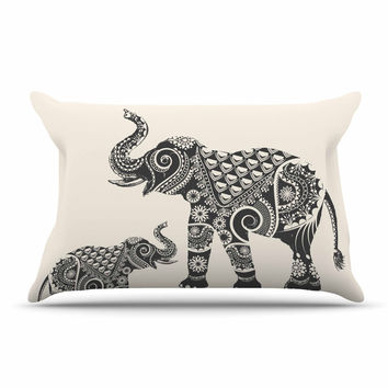 "Famenxt ""Ornate Indian Elephant-Boho"" Black Beige Pillow Sham"