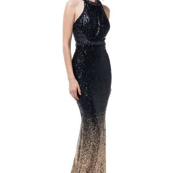 Halter Neck Sleeveless Sequin Navy Gold Evening Dress