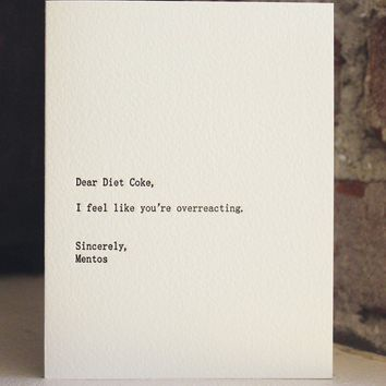 dear diet coke letterpress card by shopsaplingpress on Etsy