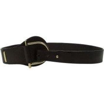 Michael Kors 50mm Tapered Leather Belt- Barrel D-Ring Buckle Chocolate
