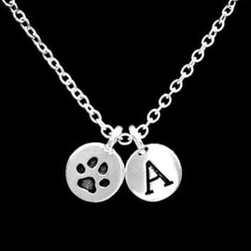Choose Initial Letter Paw Print Animal Dog Cat Fur Baby Lover Gift Necklace