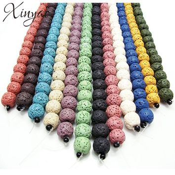 XINYAO 1strand/lot Natural Stone Beads Black Rock Lava Beads 4 6 8 10 12 mm Round Loose Spacer Bead For DIY Jewelry Making F2884