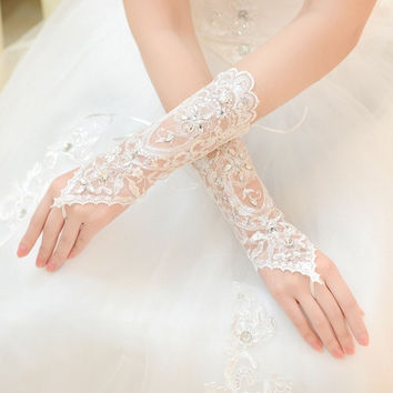 Hot Sale White Ivory Fingerless Rhinestone Lace Sequins Short Bridal Wedding Gloves Wedding Accessories = 1932207300