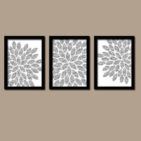 GLITTER Glam Silver Gray Bold Flower Burst Dahlia Bloom Artwork Set of 3 Trio Prints WALL Decor Abstract ART Picture Bedroom Bathroom