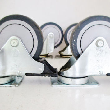 """Casters 4 Large Casters Industrial Caster Metal Swivel Casters 4"""" Diameter Hard Plastic Wheel Salvaged Hardware Furniture Feet Laundry Cart"""