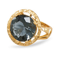 14 Karat Gold Plated Brass Ring with Dusky Blue Cubic Zirconia
