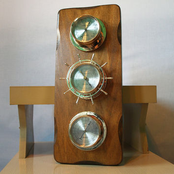 SHINY SEASIDE NAUTICAL Vintage Weather Station Wood Wall Hanging Mid Century with Thermometer, Barometer, and Hygrometer Dial Gauges
