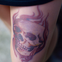 Tattoo-socks, colorful Flaming Rock Skull  realistic looking tattoo pantyhose, tattoo tights, tattoo socks