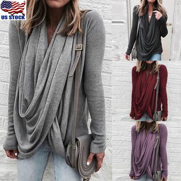 Women Tops Blouse Casual Oversize Shirt Plain Asymmetrical Irregular Tops S-5XL