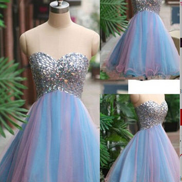 Homecoming Dress,Romantic Strapless Sweetheart Knee-length Short Prom Dress