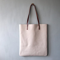 HANDA Leather Tote Bag - Leather Shoulder Bag STONE colour Shopper Bag by Jeanie Deans