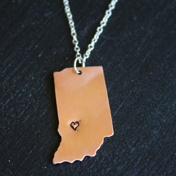 Copper Personalized State Necklace with Heart Capital - Indiana, Bloomington, Hoosier Pride