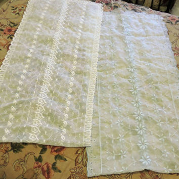 Beautiful Estate Vintage Pale Blue & White Organza  Dresser Scarves/Table Runner Lot 12