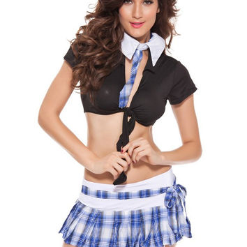 Crop Top with Plaid Mini Skirt Cosplay Suit