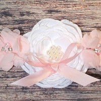 Pink Maternity Sash! It's a Girl! / White and Pink Flower Maternity Sash / Pregnancy Sash / Baby Shower / Gender Reveal / Belly Photos Prop