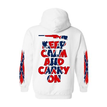 Men's Rebel Flag Zip-Up Hoodie Keep Calm And Carry On 4 Sides Graphic