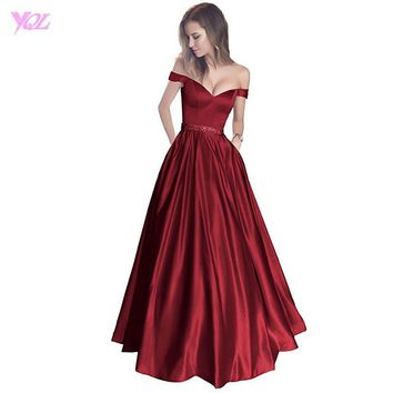 Wine Red Prom Dresses Long Off the Shoulder Evening Gown Boat Neck Satin Zipper Back Party Dress Vestido De Festa