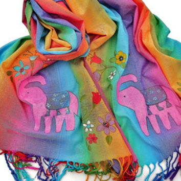 Boho Scarf Painted Beaded Pink Elephant Indian Bohemian Accessories FREE SHIPPING