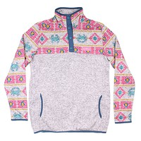 Crab Knit Snap Pullover in Smoke by Simply Southern