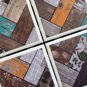 Chevron Coasters, Distressed Wood, Rustic Coaster, Tile Coaster, Tile Coasters, Coaster, Coasters, Ceramic Coaster, Coaster Set of 4