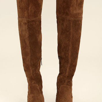 Dolly Tan Suede Over the Knee Boots