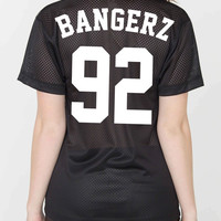 Miley Cyrus Unisex Silk Screen BANGERZ Power Mesh Jersey T-shirt
