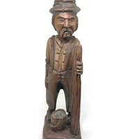 Vintage Folk Art Wood Carved Mountain Man Signed Garcia Wood Old Man Figurine With Walking Stick & Hat