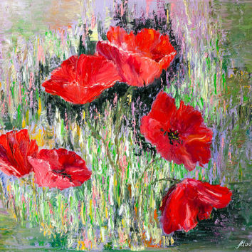 Red poppies, oil painting on canvas,abstract floral art, flowers in the grass, textured green,red,purple. FREE US SHIPPING