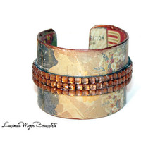 antiqued theme cuff bracelet, handmade, woman, bronze glass beads, one only, warm multi colors